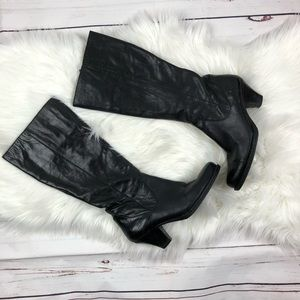 Born Black Leather Zip Knee High Boots Size 9.5